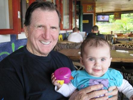 San Juan Capistrano car accident lawyer, John P. Burns, with his granddaughter.